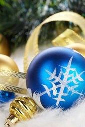 Blue and Gold Christmas Decorations Ready to Be Hung on the Tree
