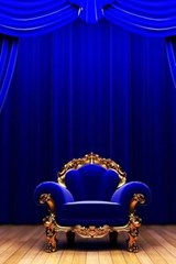 Blue Chair on the Stage with Blue Curtains | Unique Journal |
