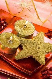 Christmas Star and Candles with Gold Glitter