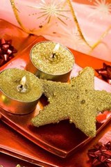 Christmas Star and Candles with Gold Glitter | Unique Journal |