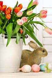 Easter Eggs, a Stone Bunny, and Tulips in a Pot