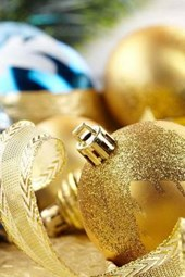 Gold Christmas Balls and Bows Ready for the Tree