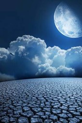 Blue Moonlight Shining Down on Parched Desert