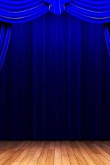 On the Stage with Blue Curtains | Unique Journal |