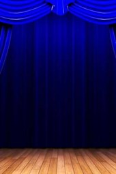 On the Stage with Blue Curtains