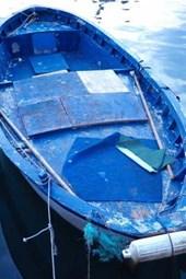 Blue Boat in Pozzuoli Harbor Italy Journal