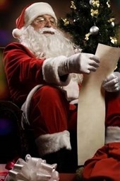 Santa Reading the Christmas Naughty and Nice List