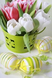 Spring Tulips and Ribbon Wrapped Easter Eggs