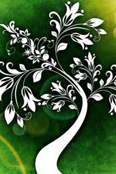 A Cool Drawing of a White Tree on Green
