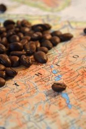 Coffee from Ethiopia, Africa on a Map