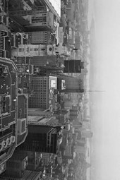 Aerial View of Downtown Philadelphia, Pennsylvania in Black and White
