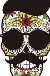 Website Password Organizer a Sugar Skull with a Hat, Mustache, and Shades