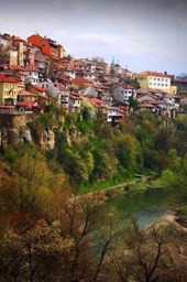 Houses on a Hill in Veliko Turnovo Bulgaria Lined Journal