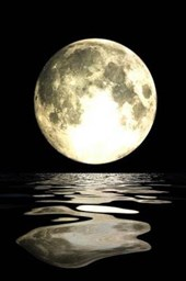 Full Moon Reflected on the Ocean Lined Notebook