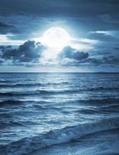 Jumbo Oversized Moon Brightly Shining Down on the Ocean
