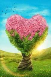 A Flowering Heart Shaped Tree in a Meadow Fantasy Illustration Lined Journal