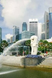 Business District Skyline and Merlion of Singapore Journal
