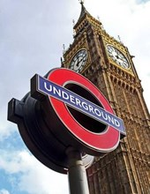 Jumbo Oversized London Underground and Big Ben in London, England