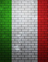 Jumbo Oversized Italian Flag Painted on a Brick Wall in Italy