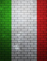 Jumbo Oversized Italian Flag Painted on a Brick Wall in Italy | Unique Journal |