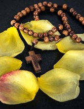 Jumbo Oversized Rosary Beads Surrounded by Rose Petals