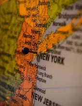 Jumbo Oversized New York Marked with a Pin on a Map