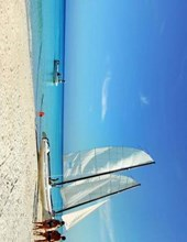 Jumbo Oversized Sail Boat on the Beach in Cuba