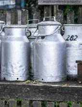 Jumbo Oversized Milk Urns on a Farm in Germany