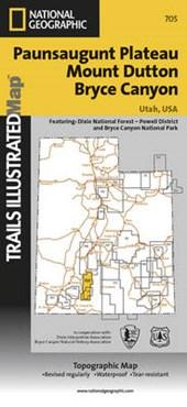 Paunsaugunt Plateau/Mount Dutton/Bryce Canyon, Utah, USA Topographic Map