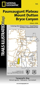 Paunsaugunt Plateau/Mount Dutton/Bryce Canyon, Utah, USA Topographic Map | National Geographic Maps  Trails Illust |