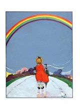 Girl Walking on Path Beneath Rainbow Encouragement Greeting Cards [With Envelope] |  |