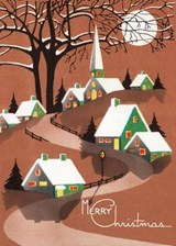 Snow Topped Houses Beneath the Moon Christmas Greeting Cards [With Envelope] | auteur onbekend |