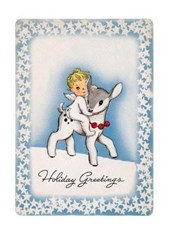 Angel Riding Lamb Christmas Cards [With Envelope]