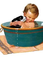 Puppy and Baby in Bath Friendship Greeting Card [With Envelope]