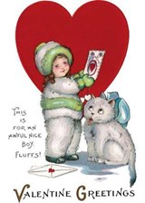 Girl in Snowsuit and Kitty Valentine's Day Card [With Envelope] | auteur onbekend |
