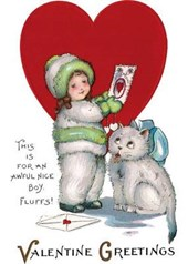 Girl in Snowsuit and Kitty Valentine's Day Card [With Envelope]
