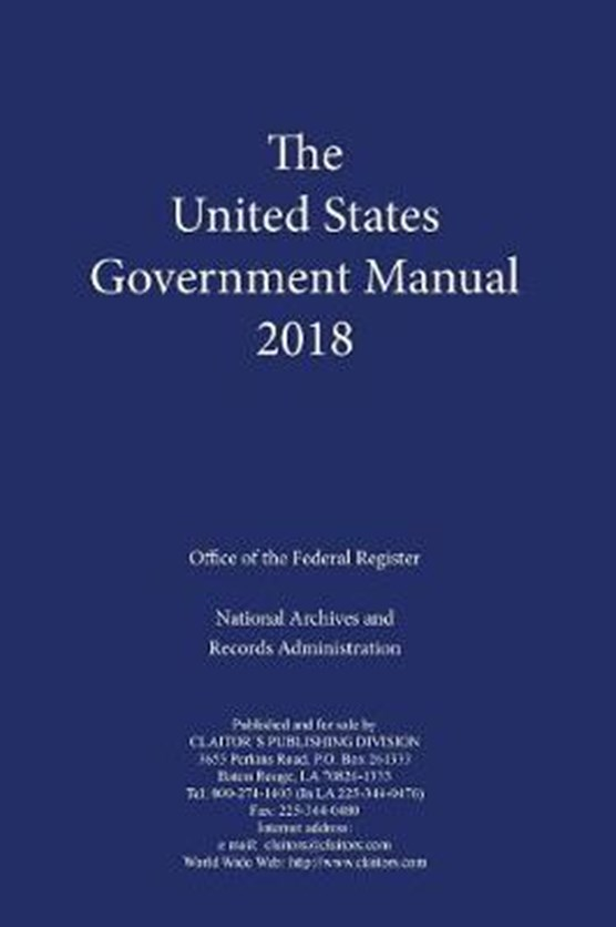 United States Government Manual 2018