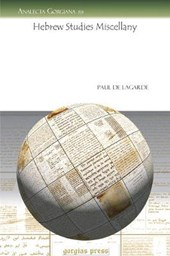 Hebrew Studies Miscellany | Paul De Lagarde |