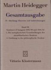 Gesamtausgabe Abt. 4 Hinweise und Aufzeichnungen Bd. 88. Seminare 1937/38 und