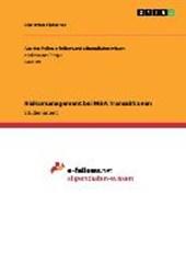 Risikomanagement bei M&A Transaktionen