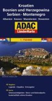 ADAC LänderKarte Kroatien, Bosnien-Herzegowina, Serbien und Montenegro 1 :