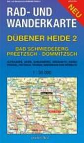 Dübener Heide 02. Bad Schmiedeberg, Pretzsch, Dommitzsch 1 : 30 000 Rad- und Wanderkarte