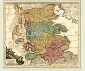 Historsiche Karte: Schleswig mit den Nordfriesischen Inseln, um