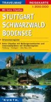 KUNTH Reisekarte Stuttgart - Schwarzwald - Bodensee 1 :