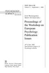 Proceedings of the Workshop on European Psychology Publication Issues | auteur onbekend |
