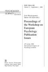Proceedings of the Workshop on European Psychology Publication Issues
