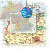 BACHER Postleitzahlenkarte Gesamtdeutschland 1 : 500 000. Papierkarte gerollt, folienbeschichtet