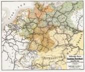 Officielle Karte der Eisenbahnen Deutschlands und der angrenzenden Länder 1862/1863. Gerollt