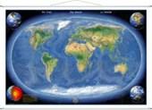 Die Erde Panorama. Wandkarte / Miniformat mit Metallbeleistung