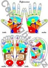 Reflexzonenübersicht - Füße, Hände und Ohr
